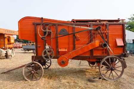 baler: Old straw baler, agricultural vehicle, rural life
