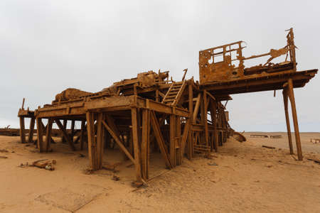 dilapidation: Old oil extraction station abandoned from Skeleton Coast, Namibia