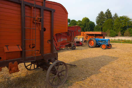 old tractor: Old tractor and farm wagon, agriculture, rural life