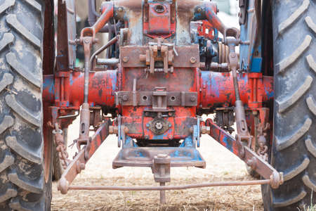 farm tractor: View of the back of an old tractors, vehicle suspension, agricultural, rural life Stock Photo