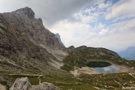 dolomite: Alpine lake on italian Alps, dolomite, trekking Stock Photo