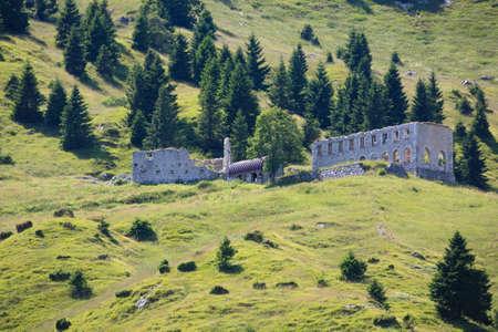 barrack: View of an abandoned first world war barrack, Italian alps