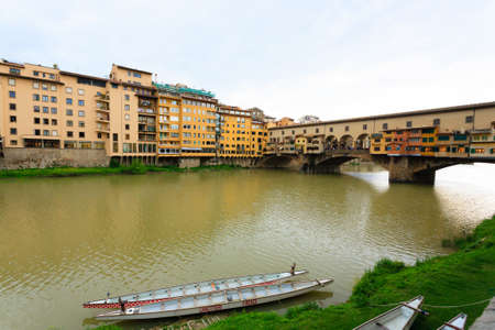 old bridge: Perspective view of Old Bridge, Florence, Italy Stock Photo