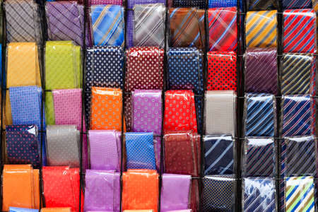 backcloth: A background with lines of coloured neckties