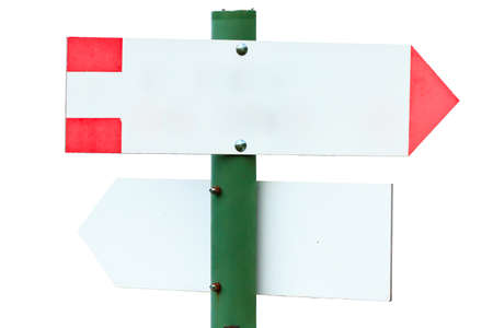 indicative: Close up of an empty signboard. Direction indication. Arrow Stock Photo