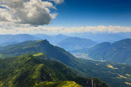 scrub grass: Panorama from Italian alps, top of a mountain, Cima Larici Asiago