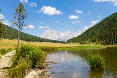 amphibia: Beautiful alpine panorama, group Pala of dolomites from Calaita lake, Italian landscape