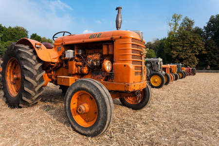 old tractors: Nine old tractors in perspective, agricultural vehicle, rural life