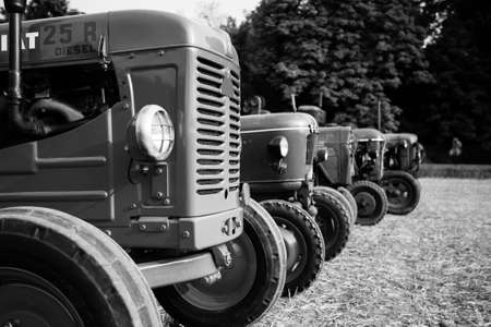 old tractors: Five old tractors in perspective, agricultural vehicle, rural life