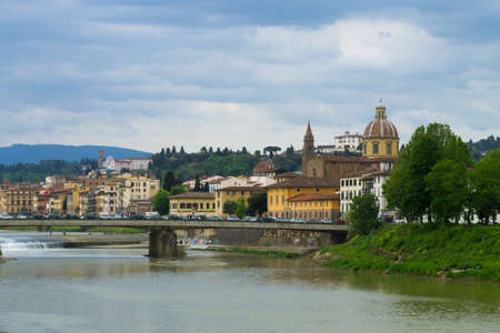 arno: A view from Florence, Arno river and San Frediano church, Italian panorama, Italy