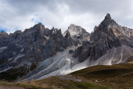 red mountain open space: Panorama from Italian Alps from San Martino di Castrozza. Dolomites view.