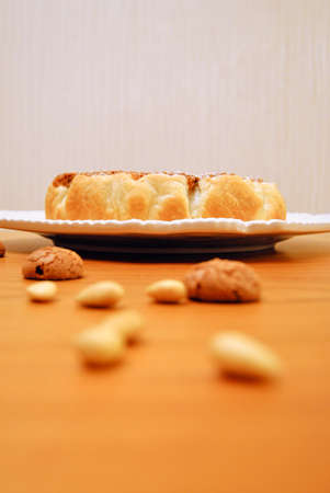 amaretto: Close up of a russian cake over a white plate, food, dessert with amaretto biscuits