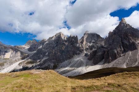 martino: Italian dolomites peak. Mountain landscape from San Martino di Castrozza. Geological formations