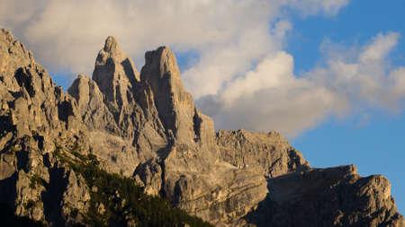 martino: Italian dolomites. Mountain landscape from San Martino di Castrozza during Enrosadira phenomenon. Geological formations Stock Photo