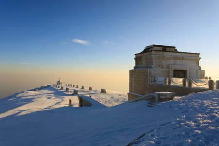 grappa: A winter view from Monte grappa first world war memorial, Italy