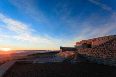 grappa: Sunset at the memorial. First world war memorial from Monte Grappa, Italy. Italian alps panorama