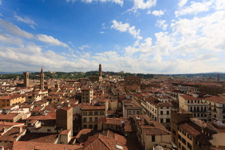 Florence view from Giottos bell tower, Italian panorama. Stock Photo