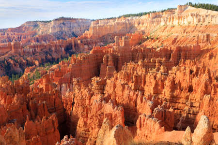 hoodoos: Panorama from Bryce Canyon National Park, USA. Hoodoos, geological formations. Beautiful scenery