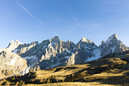 martino: Italian dolomites peak. Mountain landscape from San Martino di Castrozza. Geological formations