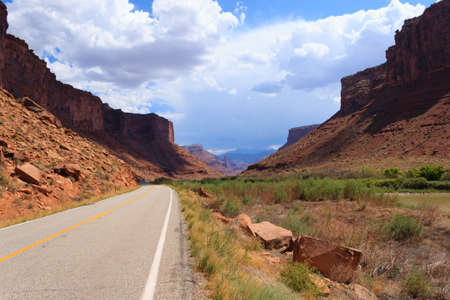 red mountain open space: Panorama from Utah. highway through red mountains. United States of America Stock Photo