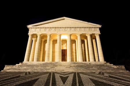 sculptor: Night view of Temple of Canova from Possagno, Italy.  Architecture. Antonio Canova sculptor
