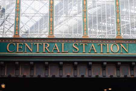 north window arch: Glasgow central station view. Old architecture detail. transportation by train