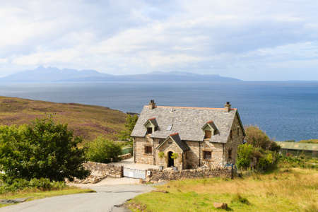 highlands region: Rural panorama from Scotland. House  from Highlands region. Travel destinations