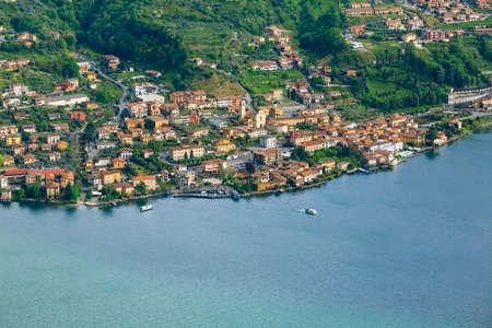 isola: Lake panorama from Monte Isola, Italy. Italian landscape. Island on lake