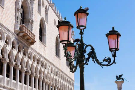 gothic architecture: Exterior view of Doges Palace from Venice, Italy. Italian famous landmark. Gothic architecture Stock Photo