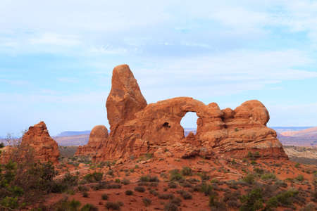 Red rock arches. Arches National park, Moab, United States of America. Geological formations Reklamní fotografie - 59977854