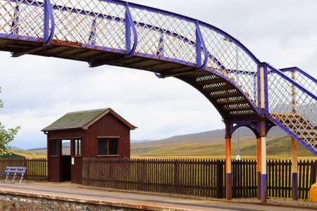 railway transportation: Pictoresque overpass from Scottish railway station. Train and transportation.