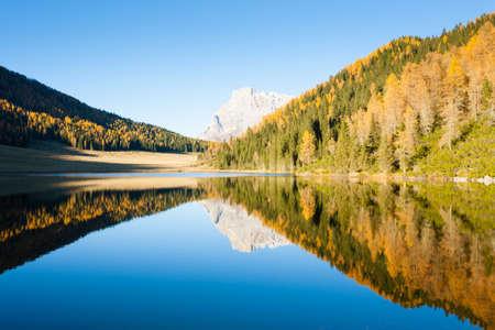 Mountain panorama from Italian Alps. Reflections on water from Calaita lake. Beautiful dolomites
