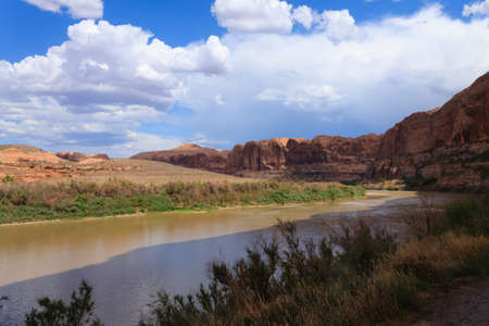 red mountain open space: Colorado river crossing Utah state. Red rocks panorama, United States of America