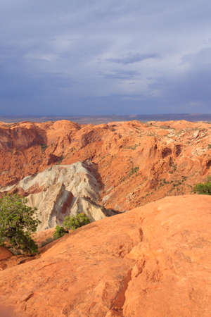 upheaval: Panorama from Canyonlands National Park, USA. Upheaval Dome viewpoint. Geological formations