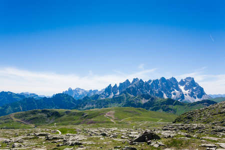 martino: Italian mountain panorama. Pale di San Martino peaks. Sport and outdoor Stock Photo