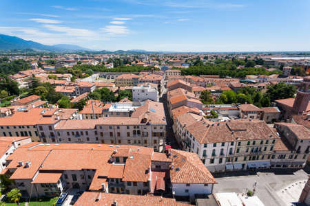 grappa: Cityscape from Bassano del Grappa, Top view. Medieval town panorama.  Italian typical landscape.