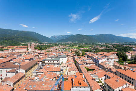 Cityscape from Bassano del Grappa, Top view. Medieval town panorama.  Italian typical landscape.