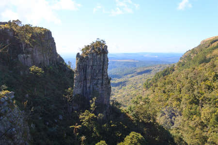 pinnacle: Blyde River Canyon panorama. The Pinnacle rock, famous landmark. South african landscape, Africa