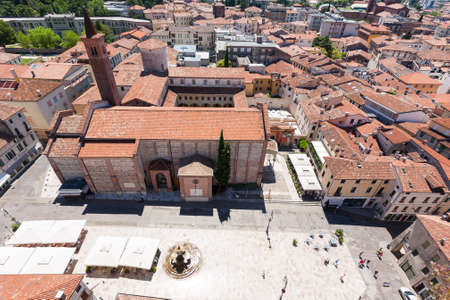 civic: Cityscape from Bassano del Grappa, Top view. Medieval town panorama.  Italian typical landscape.