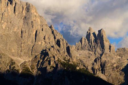 Italian dolomites. Mountain landscape from San Martino di Castrozza during Enrosadira phenomenon. Geological formations Stock Photo