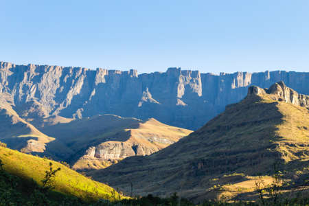 South African landmark, Amphitheatre from Royal Natal National Park. Drakensberg mountains  landscape. Top peaks Stock Photo