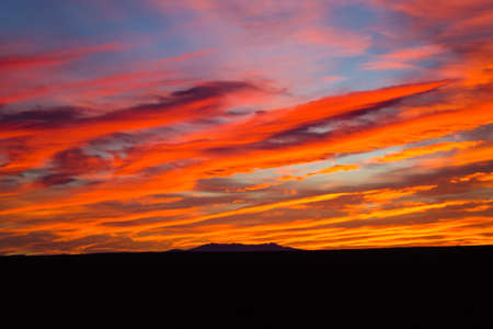 savannas: Sunset from Addo Elephant National Park, South Africa. Dramatic sky. Open space landscape Stock Photo