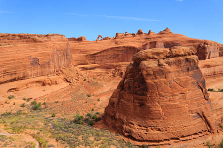 moab: Panorama from Utah. Famous delicate arch. Red rocks canyon, geological formations. United States of America