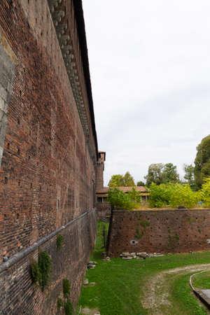 sforza: Sforza Castle view in Milan. Italian famous landmark. Architecture and buildings