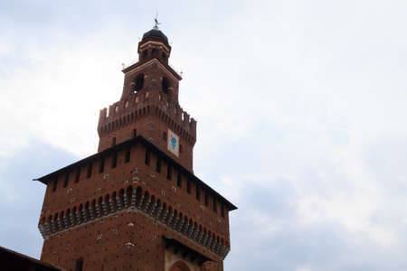 sforza: Sforza Castle view in Milan. Italian famous landmark. Architecture and buildings