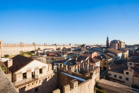View of Cittadella, medieval walled city in Italy. Italian fortificated town. Travel landmark