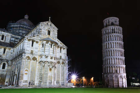 miracoli: Piazza dei Miracoli with the Leaning Tower of Pisa, Italy. Italian landmark Stock Photo