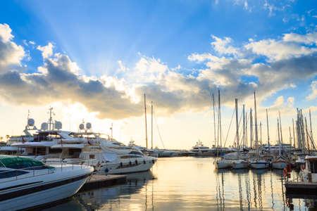 Harbor and marina at Cannes, French Riviera, France. Luxury boats. 版權商用圖片
