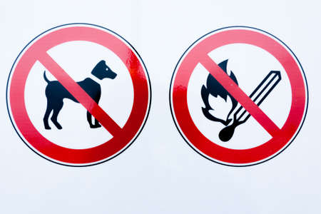 Collection of prohibition signs. Red circles with indication inside