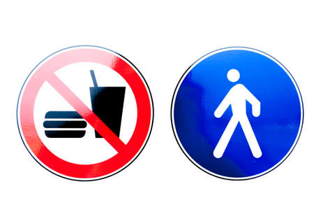 Collection of prohibition signs and warning signs. Stock Photo